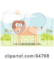 Royalty Free RF Clipart Illustration Of A Square Bodied Lion Near Mountains by Qiun