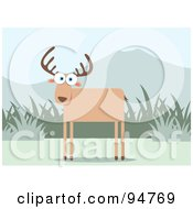 Royalty Free RF Clipart Illustration Of A Square Bodied Wild Deer Near Grass And Mountains