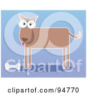 Royalty Free RF Clipart Illustration Of A Square Bodied Dog Standing By A Bone