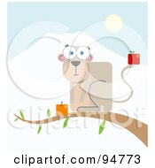 Royalty Free RF Clipart Illustration Of A Square Bodied Monkey With Fruit Resting On A Tree Branch