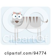 Royalty Free RF Clipart Illustration Of A Square Bodied Striped Feline