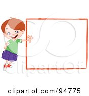 Royalty Free RF Clipart Illustration Of An Outgoing Little Boy Leaning Against A Blank White Sign