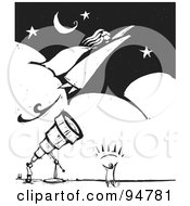 Royalty Free RF Clipart Illustration Of A Black And White Wood Carving Styled Astronomer Viewing A Super Woman Flying Through A Night Sky