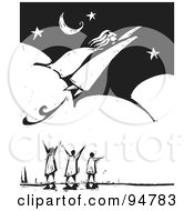 Royalty Free RF Clipart Illustration Of A Black And White Wood Carving Styled People Watching A Super Woman Fly Through A Night Sky