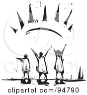Royalty Free RF Clipart Illustration Of A Black And White Wood Carving Styled People Embracing The Warmth Of The Sun