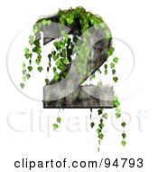 Royalty Free RF Clipart Illustration Of Green Ivy Overgrowing On A Cement Number 2
