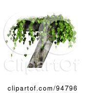 Royalty Free RF Clipart Illustration Of Green Ivy Overgrowing On A Cement Number 7 by chrisroll