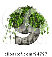 Royalty Free RF Clipart Illustration Of Green Ivy Overgrowing On A Cement Number 9 by chrisroll