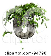Royalty Free RF Clipart Illustration Of Green Ivy Overgrowing On A Cement Number 6 by chrisroll