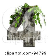 Royalty Free RF Clipart Illustration Of Green Ivy Overgrowing On A Cement Number 4 by chrisroll