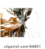 Royalty Free RF Clipart Illustration Of Brown 3d Cubic Shards Floating Over White by chrisroll