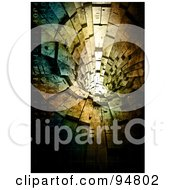Royalty Free RF Clipart Illustration Of A View Down A 3d Stone Tunnel With Binary by chrisroll