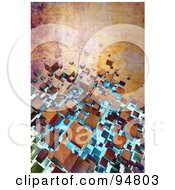 Royalty Free RF Clipart Illustration Of A Grungy Background Of 3d Rusty Floating Cubes by chrisroll
