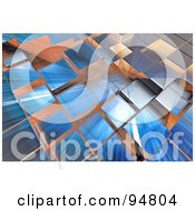 Royalty Free RF Clipart Illustration Of A Background Of Rays Of Light Over 3d Reflective Cubic Columns by chrisroll