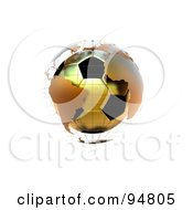 Royalty Free RF Clipart Illustration Of A 3d Golden Soccer Globe