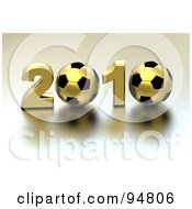 Royalty Free RF Clipart Illustration Of A 3d Golden 2010 With Soccer Balls As The Zeros by chrisroll