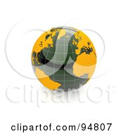 3d Shiny Marble Globe With Orange Continents And Grid Lines