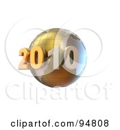 Royalty Free RF Clipart Illustration Of A 3d Golden New Year 2020 Globe With Grid Marks