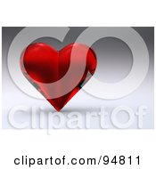 Royalty Free RF Clipart Illustration Of A 3d Red Glass Heart Over A Shaded Background by chrisroll