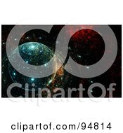 Royalty Free RF Clipart Illustration Of An Abstract Futuristic Fractal Background Of A Grungy Solar System by chrisroll