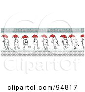 Royalty Free RF Clipart Illustration Of A Stick People Man Border Shown Walking In Rain Puddles With A Red Umbrella by NL shop