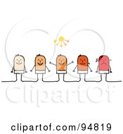 Royalty Free RF Clipart Illustration Of Stick People Men Shown With Pale Skin Graduating Up To A Bad Sun Burn