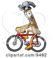 Clipart Picture Of A Hammer Mascot Cartoon Character Riding A Bicycle by Toons4Biz