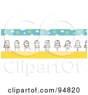 Royalty Free RF Clipart Illustration Of A Border Of A Stick People Man Sweating And Walking On A Summer Day by NL shop