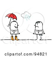 Royalty Free RF Clipart Illustration Of A Stick People Man Holding An Umbrella And Approaching A Wet Man by NL shop