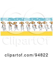 Royalty Free RF Clipart Illustration Of A Stick People Man Wearing Shades And Carrying An Umbrella On A Summer Beach by NL shop