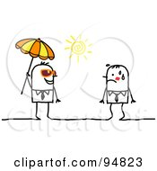 Royalty Free RF Clipart Illustration Of A Stick People Man Under A Parasol Approaching A Hot Man by NL shop