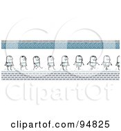 Royalty Free RF Clipart Illustration Of A Border Of A Soaking Wet Stick People Man Walking Through Puddles by NL shop