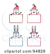 Stick People Men And Women Wearing Bunny Ears And Santa Hats Over Christmas And Easter Signs