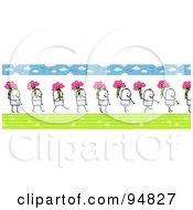 Royalty Free RF Clipart Illustration Of A Border Of A Stick People Man Carrying A Bouquet Of Spring Flowers by NL shop