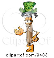 Hammer Mascot Cartoon Character Wearing A Saint Patricks Day Hat With A Clover On It