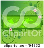 Royalty Free RF Clipart Illustration Of A Flowering Green Vine Around A Grungy Text Box by Pushkin