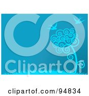 Royalty Free RF Clipart Illustration Of A Blue Spring Time Background Of Swallows Flying Over A Spiral Tree