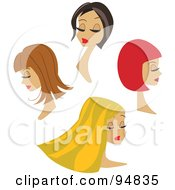 Royalty Free RF Clipart Illustration Of A Digital Collage Of Four Beautiful Women With Different Hair Styles And Colors
