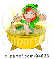 Happy Short Leprechaun Sitting On Top Of A Pot Of Gold Coins