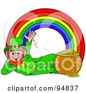 Reclined Leprechaun Playing With Gold Coins At The End Of A Rainbow