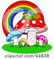 Royalty Free RF Clipart Illustration Of A Leprechaun Reclined Atop A Mushroom Under A Rainbow With His Pot Of Gold by Pams Clipart