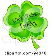 Royalty Free RF Clipart Illustration Of A Luck Of The Irish Greeting On A Four Leaf Clover