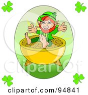 Happy Short Leprechaun On Top Of A Pot Of Gold With Clover Corners