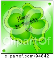 Royalty Free RF Clipart Illustration Of A Happy St Patricks Day Greeting On A Four Leaf Clover by Pams Clipart