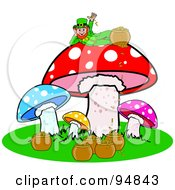 Leprechaun With His Pot Of Gold Reclined On Top Of A Mushroom