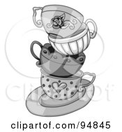 Royalty Free RF Clipart Illustration Of A Messy Stack Of Grayscale Tea Cups On A Saucer by C Charley-Franzwa