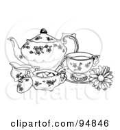 Royalty Free RF Clipart Illustration Of A Black And White Pen And Ink Styled Tea Set by C Charley-Franzwa #COLLC94846-0078