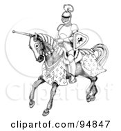 Royalty Free RF Clipart Illustration Of A Black And White Jousting Knight Riding On His Steed