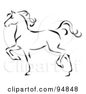 Royalty Free RF Clipart Illustration Of A Graceful Black Line Art Trotting Horse Profile by C Charley-Franzwa