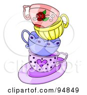 Royalty Free RF Clipart Illustration Of A Messy Stack Of Colorful Tea Cups On A Purple Saucer